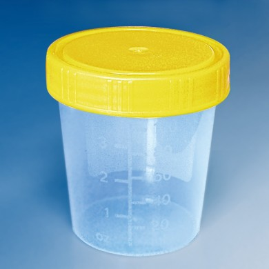 Urinbecher steril mit Schraubdeckel, gelb